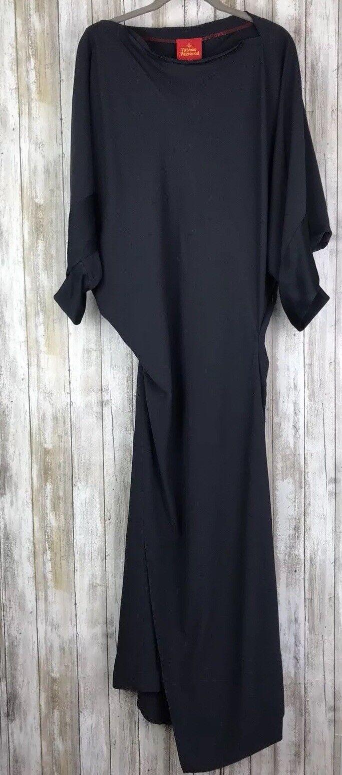 VIVIENNE WESTWOOD Steel Grey Dark Long Midi Gown Dress Asymmetrical 40 4