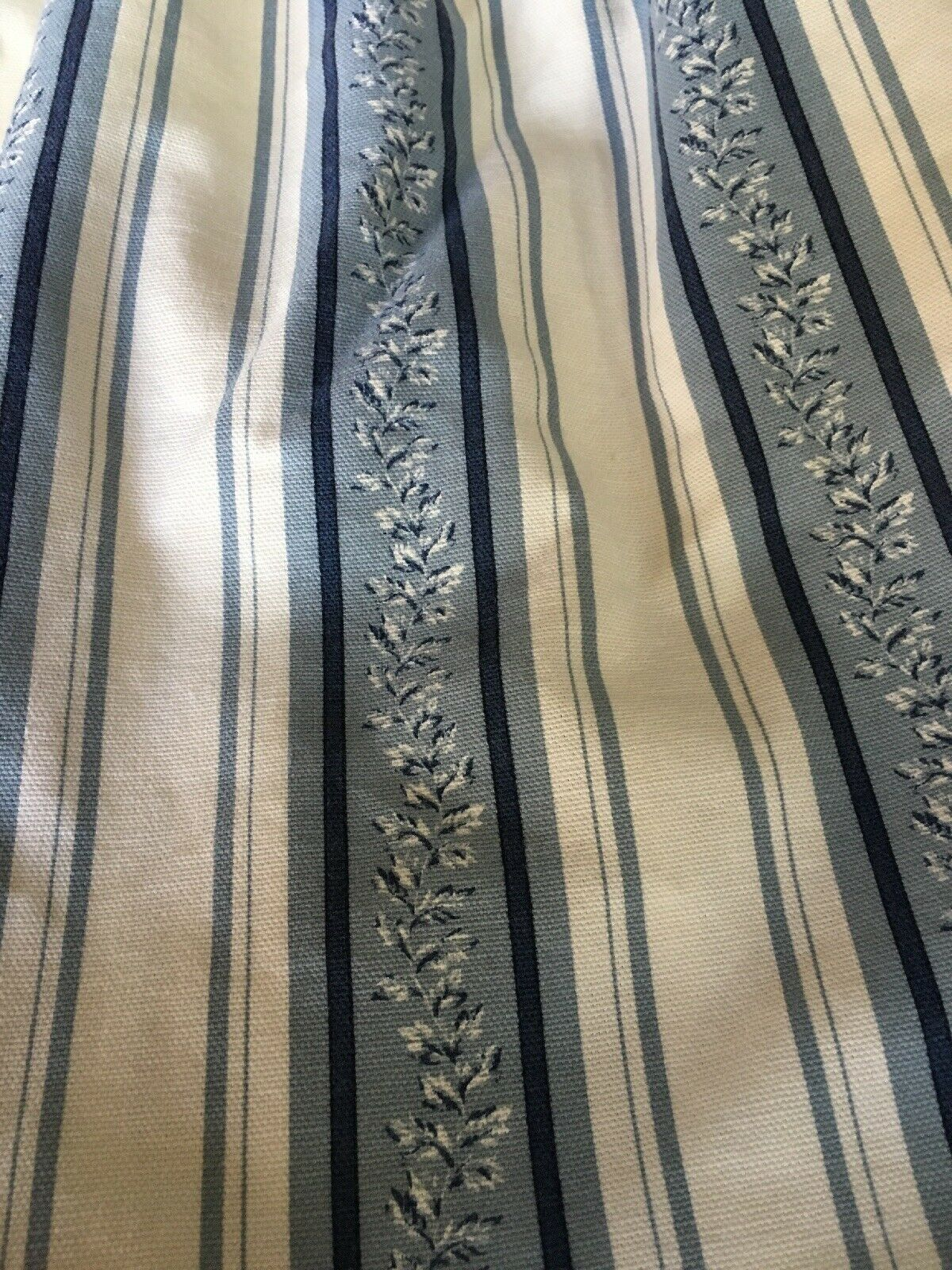 Antique Bed Dust Ruffle Bedskirt bluee White Stripes Floral Flowers Cotton 48x72