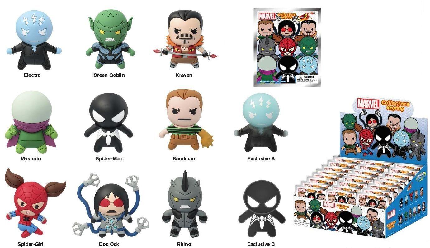 Case of 24 Marvel Series 5 Keychains Monogram Spider-man,  Spider-girl, Rhino