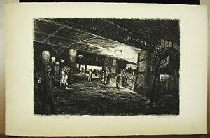 Station-Underground-Beards-in-1948-Woodblock-Original-Signed-amp-Justified-Ix-XM