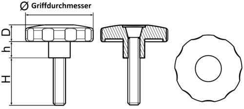 Ø64mm Sterngriff mit M8 x 58 mm Schraube Drehknauf Handrad Kunststoff Drehgriff