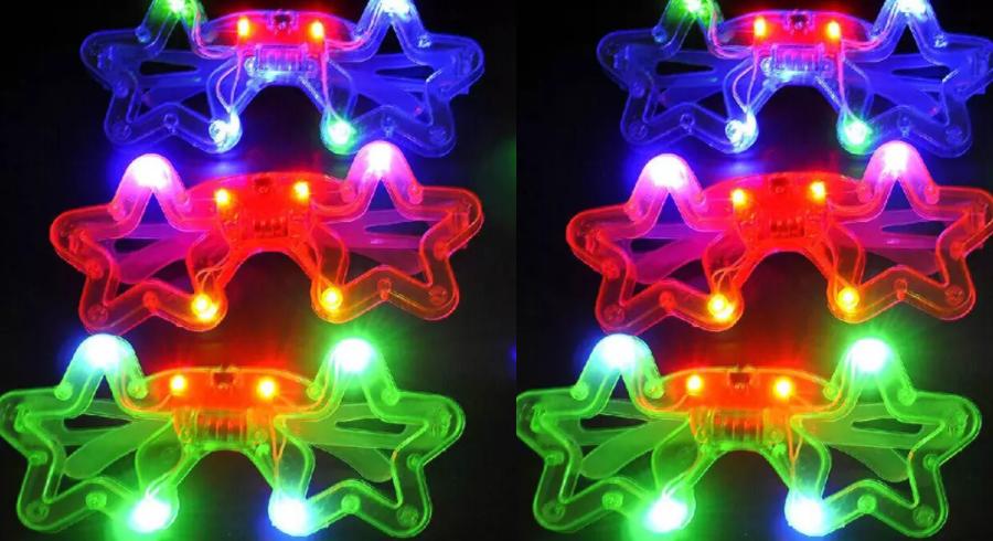 100 PCS Light-Up Star Glasses LED Flashing Blinking MultiFarbe Shades Rave Party