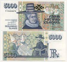 Iceland 5000 Kronur 2001 Pick 60 UNC Uncirculated Banknote
