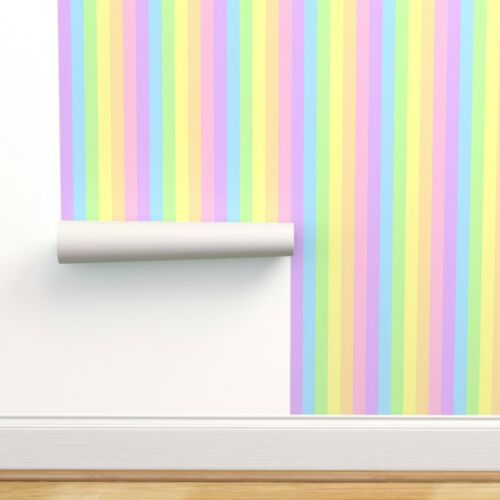 Peel-and-Stick Removable Wallpaper Rainbow Stripes Vertical Pastels Pastel