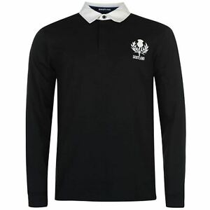Scotland-Rugby-Long-Sleeve-Team-Jersey-Mens-Blue-Fan-Top-Shirt-Sportswear