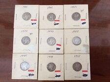 9 Mercury Dimes dates 1941-1945