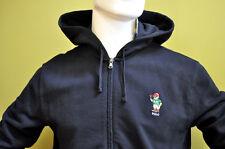 Polo Ralph Lauren Mens Black Polo Player Bear Cotton Fleece Hooded Jacket Sz XL