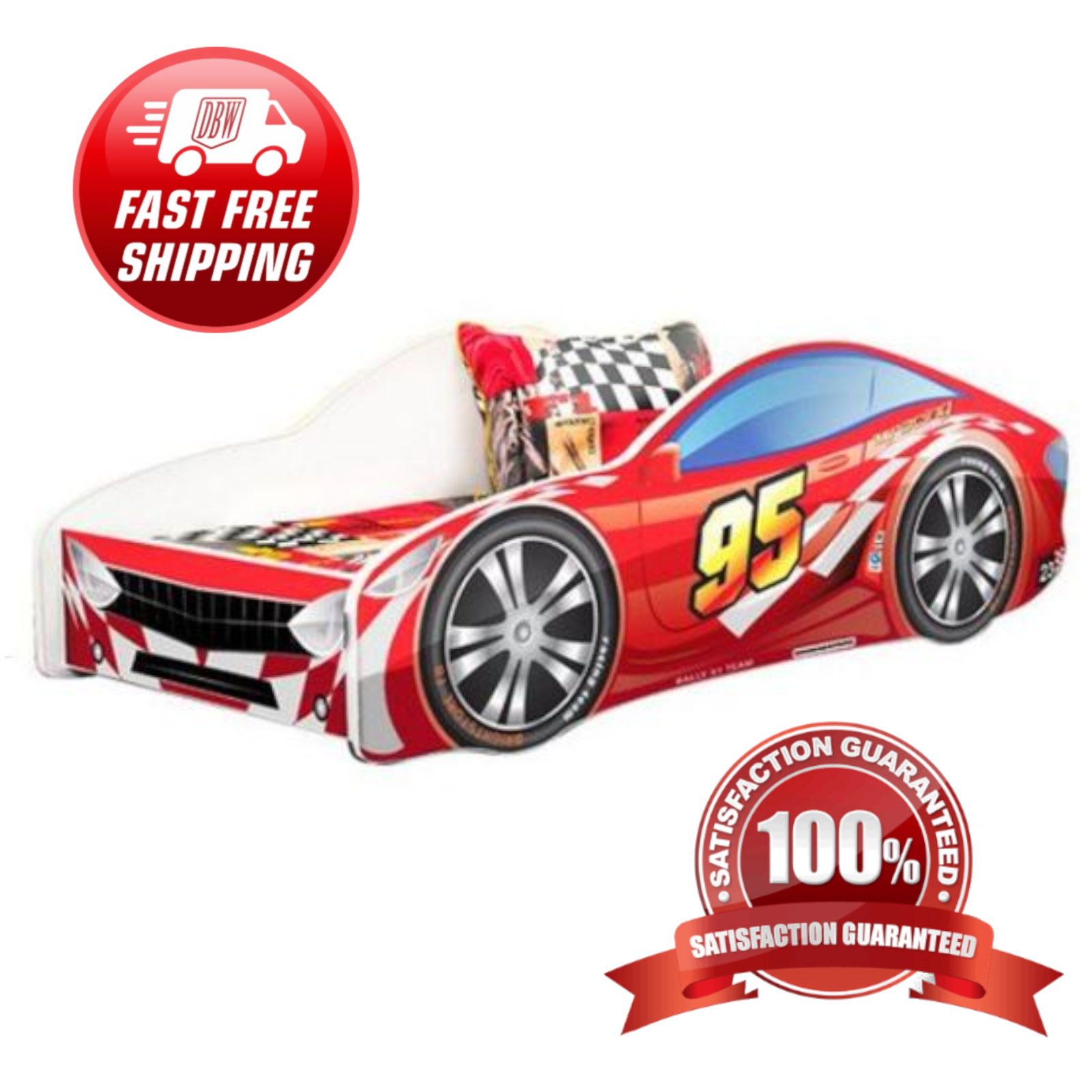 Race Car Bed For Boys Racing Red Turbo Twin Kids Bedroom Furniture Toddlers For Sale Online Ebay