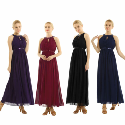 Women Long Chiffon Evening Formal Party Halter Maxi Gown Prom Bridesmaid Dress