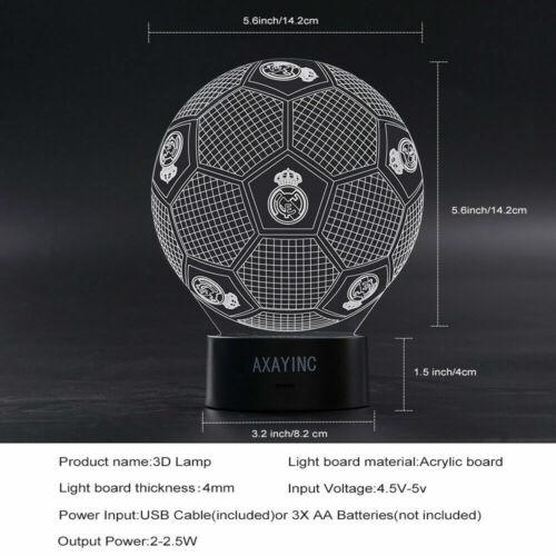 Real Madrid Fußball LED Tischlampe 3D Nachtlicht Leselampe Nachttischlampe Farbe