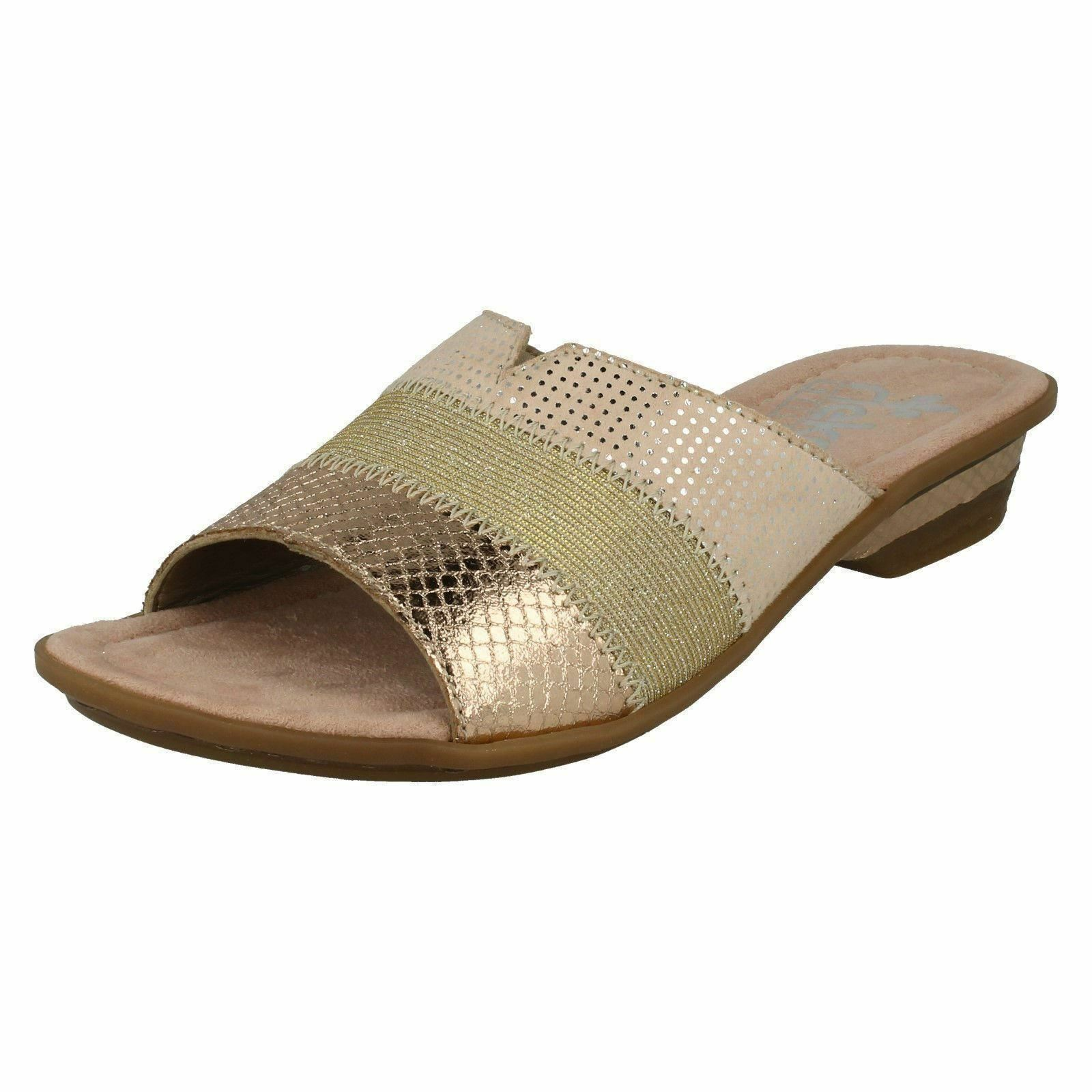 Ladies Beige Combi Slip On Rieker Open Toe Sandals Mules 63425
