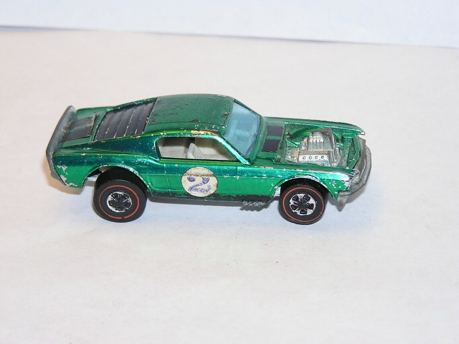 1970 Hot Wheels rossoline SPOILERS Boss Hoss RARE OVER CHROME verde w WI READ