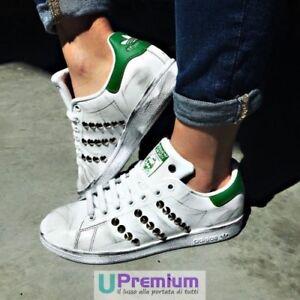 Adidas-Stan-Smith-Verde-Borchiate-Argento-Vintage-Prodotto-Personalizzato-Scar