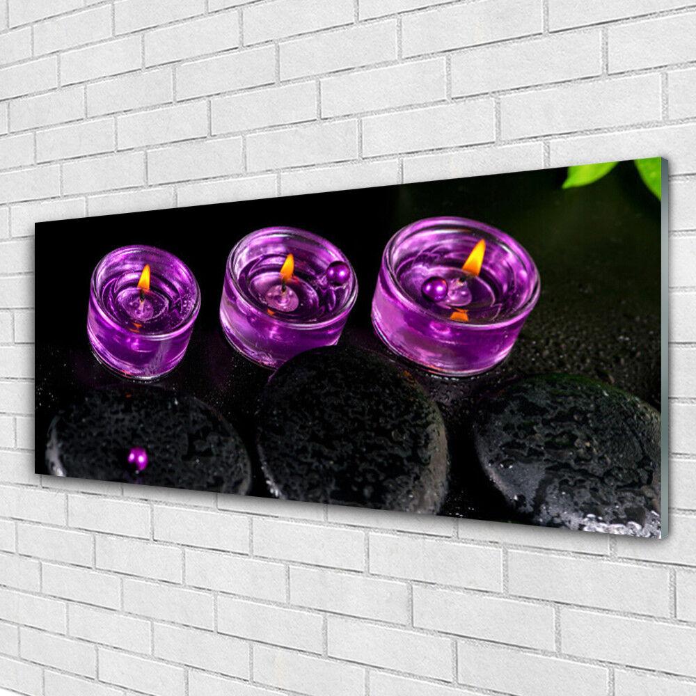 Tableau murale Impression sous verre 125x50 Art Bougies Pierres