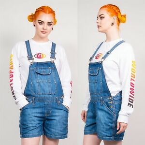 0beb37ad7a Image is loading WOMENS-RETRO-BLUE-DENIM-DUNGAREES-SHORTS-PLAYSUIT-ROMPER-