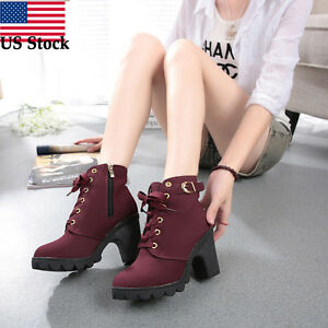 438561936b8 Womens Fashion High Heel Lace Up Ankle Boots Ladies Buckle Winter ...