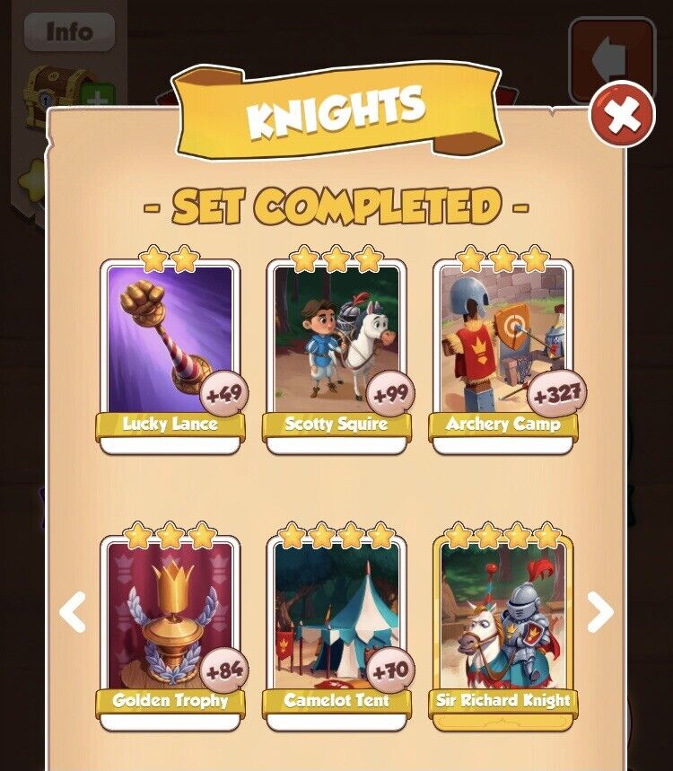 1 x Knights full New Set ( Fast sending ) :- Coin Master Cards