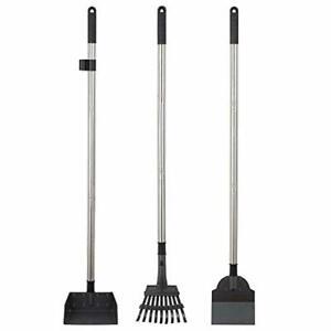 Metal-Pet-Poop-Tray-Rakes-Long-Handle-Dog-Waste-Clean-Pooper-Scooper-Cleaning