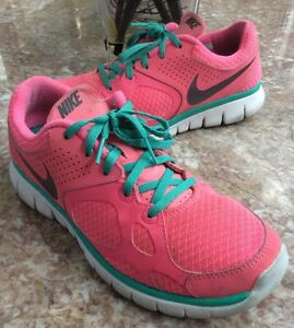 Womens Pink and Green Nike Size 8 Athletic Shoes
