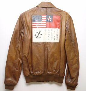 92e993bef Details about Polo Ralph Lauren A2 Farrington Brown Leather Bomber Flight  Jacket size S