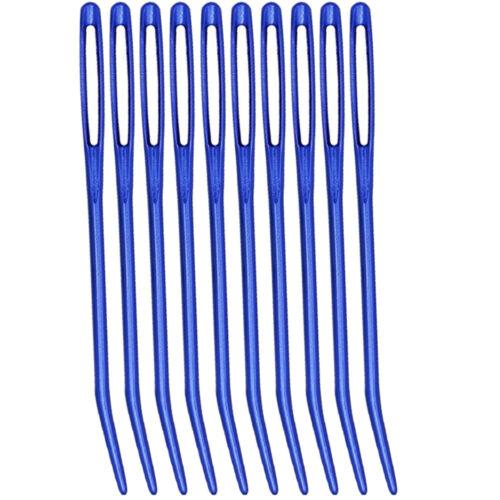 10PCS aluminio Bent punta tapicería agujas de tejer de zurcir Big Eye Coser