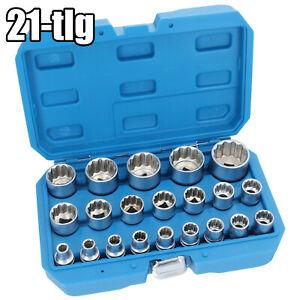 Steckschlüssel Satz 1//2 Zoll Werkzeug 21 Teile 8-36 Vielzahn Nüsse Nuss Set
