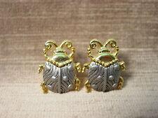 """""""JJ"""" Jonette Jewelry Silver & Gold Pewter LADYBUG Post Earrings"""