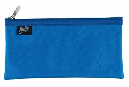 Helix NYLON PENCIL CASE Compact Flat Nylon Strong Zip Stationery Makeup Pouch