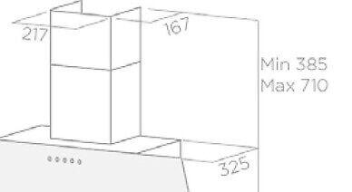 Andet, EICO Skorsten til væghængt emhætte, b: 217 d: 167 h: