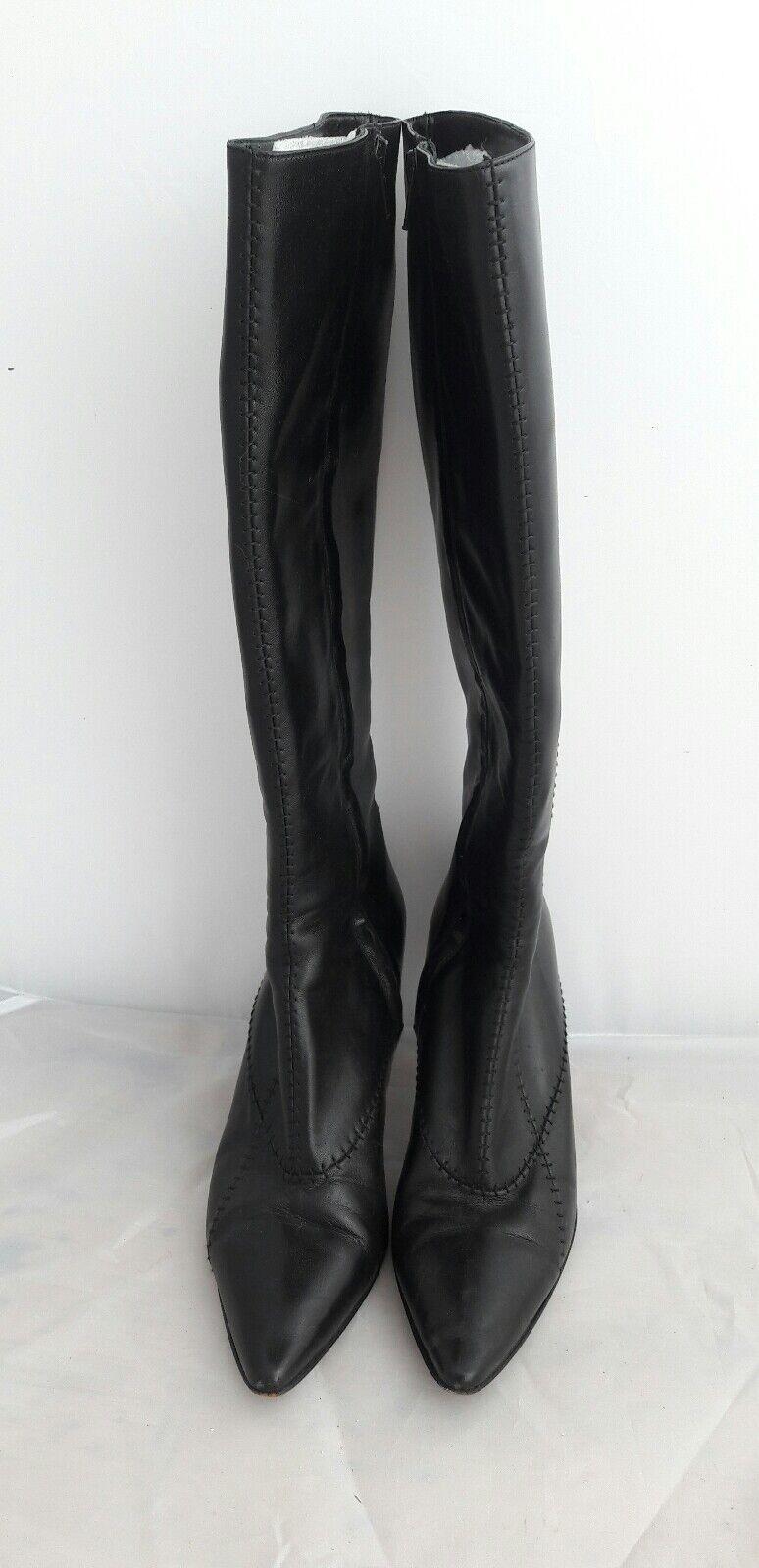 René Lezard botas Stiletto negro tacón alto, hermosa elegante