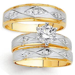 Details about 14K Two Tone Gold Simulated Diamond Trio Engagement Wedding  Band Bridal Ring Set