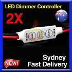 2x Mini 12V LED Strip Light Dimmer Controller with On Off Switch for 3528 5050