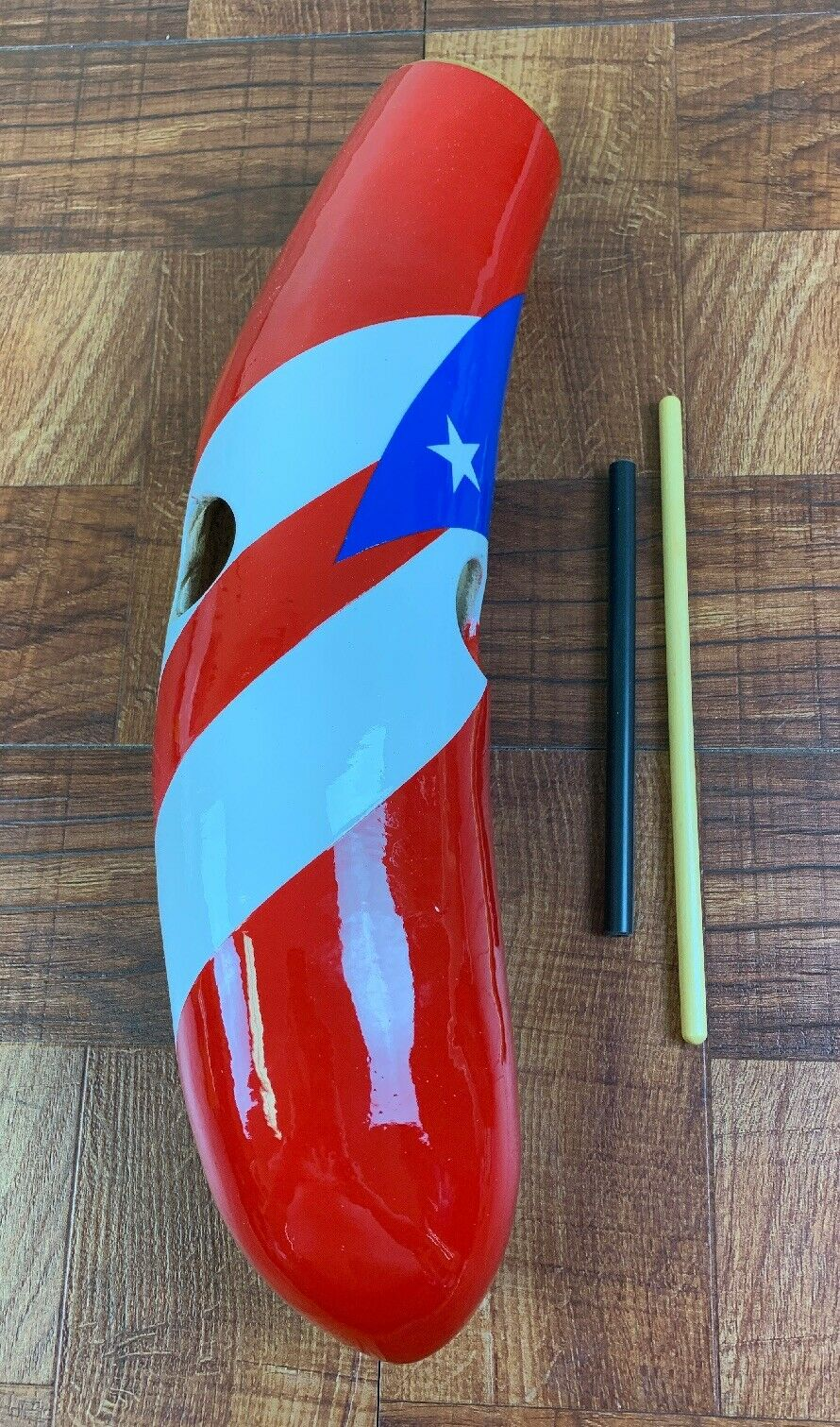 Salsa Guiro-Painted colors Of The Puerto Rico Flag.—2 Playing Sticks-Slant Flag
