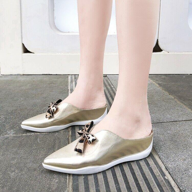 Para Mujeres Arco Cuero Mulas Sandalias De Tacón Con Plataforma Puntera en Punta Pantuflas Zapatos Informales