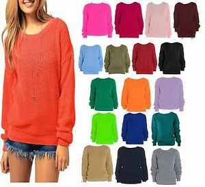 A74-WOMENS-LADIES-CASUAL-BASIC-COSY-KNITTED-BAGGY-JUMPER-WINTER-TOP-sizes-8-16