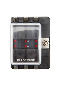 6 Way LED Blade Fuse Box Single Power in Fuse Holder Boat ...
