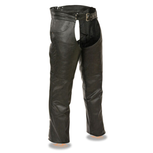 Mens Classic Black Leather CHAPS Jean Pockets Motorcycle Leg Warmer Biker Pants