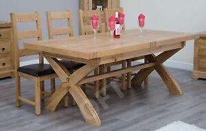 Montero solid oak furniture cross leg extending dining table ebay image is loading montero solid oak furniture cross leg extending dining watchthetrailerfo