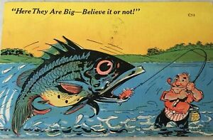 Vintage-43-039-RAY-WALTERS-Postcard-Here-They-Are-Big-Fishing-Comic-KROPP-Linen-C53