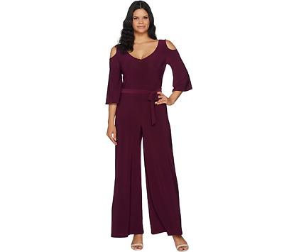 Attitudes Renee Cold Shldr Flutter SLV Knit Jumpsuit A294132