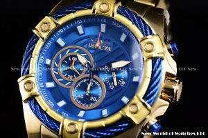NEW-Invicta-52mm-Mens-Bolt-Quartz-Chronograph-18K-Gold-IP-Blue-Dial-SS-Watch