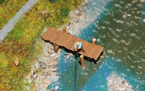Handarbeit aus Holz Bootssteg Spur N 1:160 Kleiner Steg Angelsteg