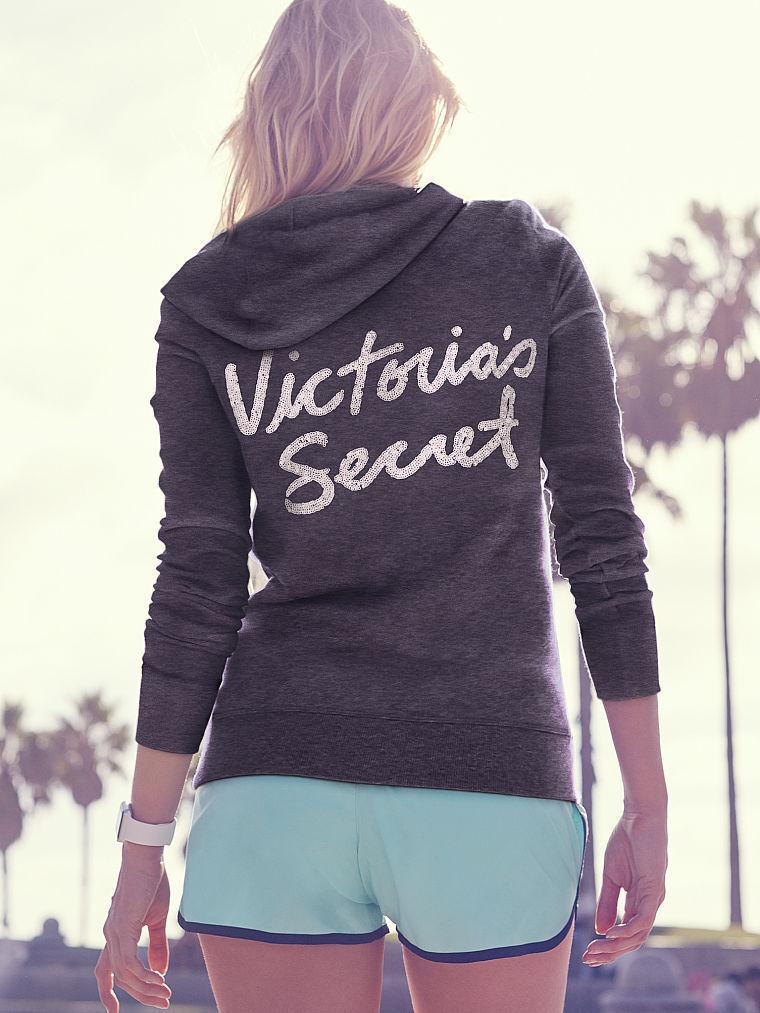Victoria Secret Classic Zip Hoodie Size Large Dark Charcoal