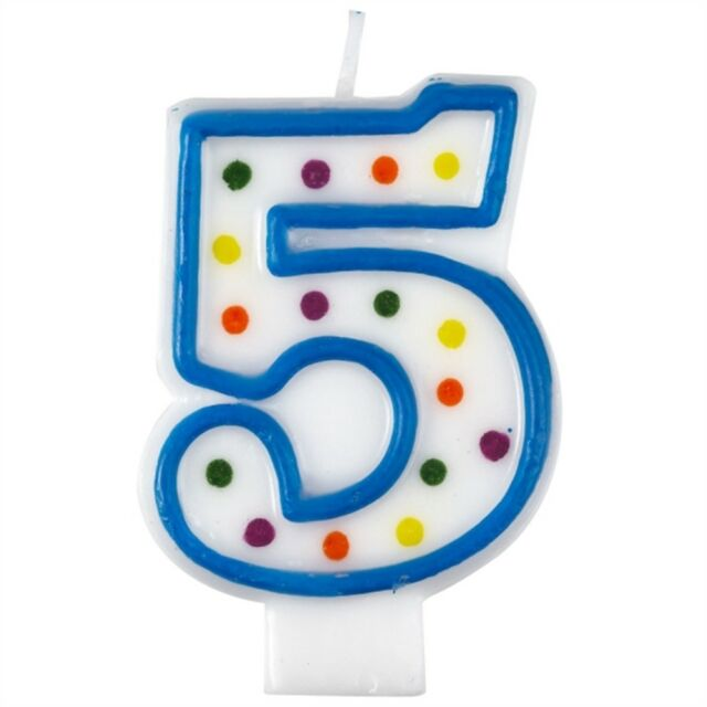 Amscan 9900779 75cm Polka Dot Number 5 Birthday Candle