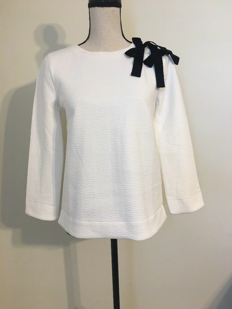 NEW JCREW Double bow sweatshirt SizeS In Ivory H4859 SOLDOUT   HO17
