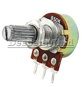 2PCS-50K-B50K-Ohm-Linear-3-Terminal-Taper-Rotary-Potentiometer-Panel-Pot