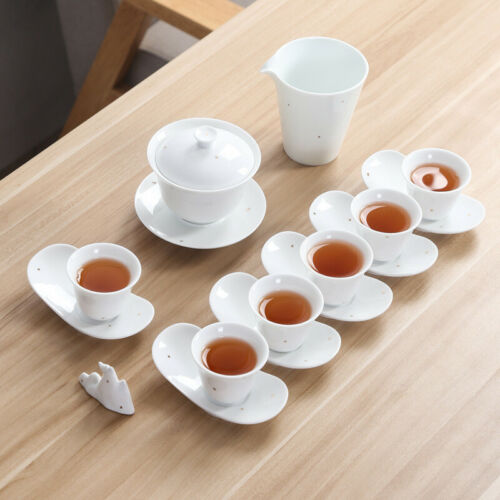 white china tea set lid holder porcelain gaiwan tureen pitcher  tea cup saucer