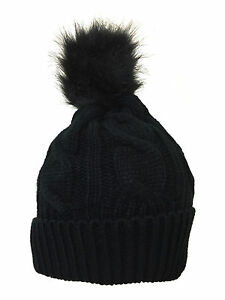 cf9313e6bd8 Womens Bobble Hats Ladies Knitted Faux Fur Cable Knitted Winter Pom ...