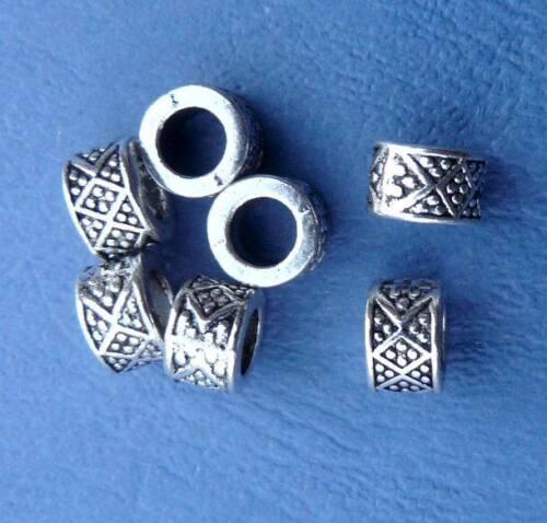 4x Métal Beads Incas bijoux argent magasin de fournitures dreadperlen Taille Trou Perles NEUF