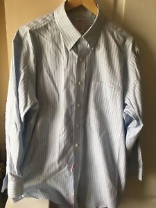 Brooks-Brothers-Madison-Mens-Dress-Shirt-Button-Down-Non-Iron-Striped-Size-17-33